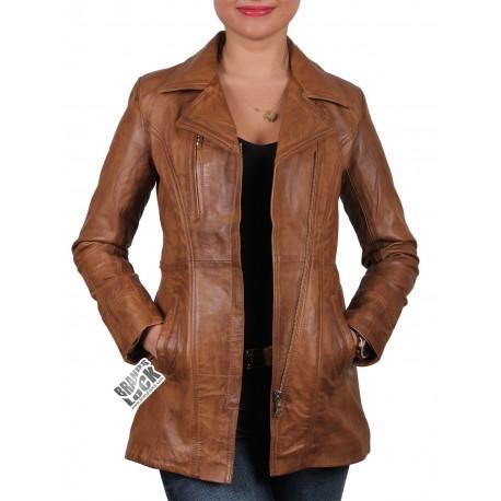 Ladies Tan Leather Biker Jacket - Mellisa