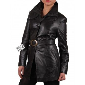 Ladies Black Leather Long Jacket - Savannah