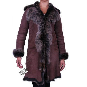 Brown - Golden Suede 3/4 Toscana Sheepskin Leather Coat