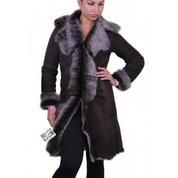 Dark Brown - Silver Suede 3/4 Toscana Sheepskin Leather Coat