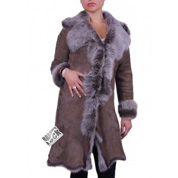 Dark Taupe Suede 3/4 Toscana Sheepskin Leather Coat