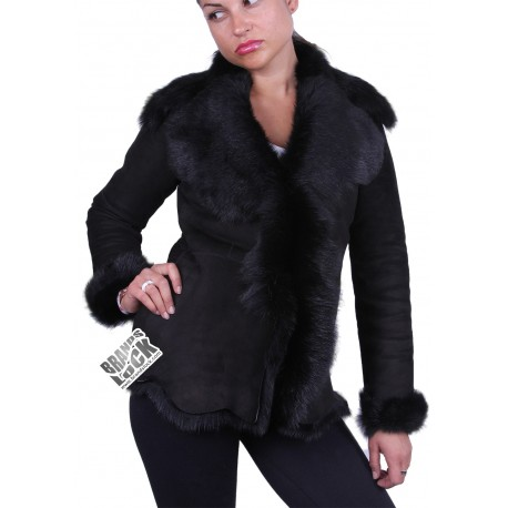 Dark Black Suede Short Spanish Toscana Sheepskin Leather Jacket