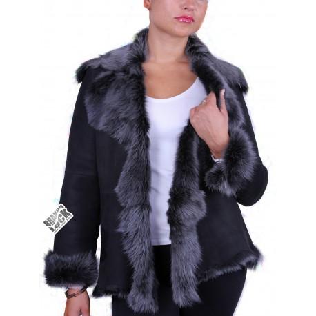 Ladies Black Silver Toscana Sheepskin Leather Fur Gilet