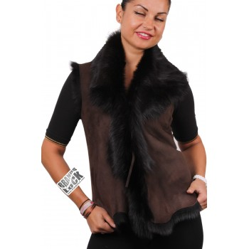 Women Brown-Black Toscana Sheepskin Leather Fur Gilet