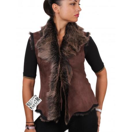 Ladies Brown-Gold Toscana Sheepskin Leather Fur Gilet