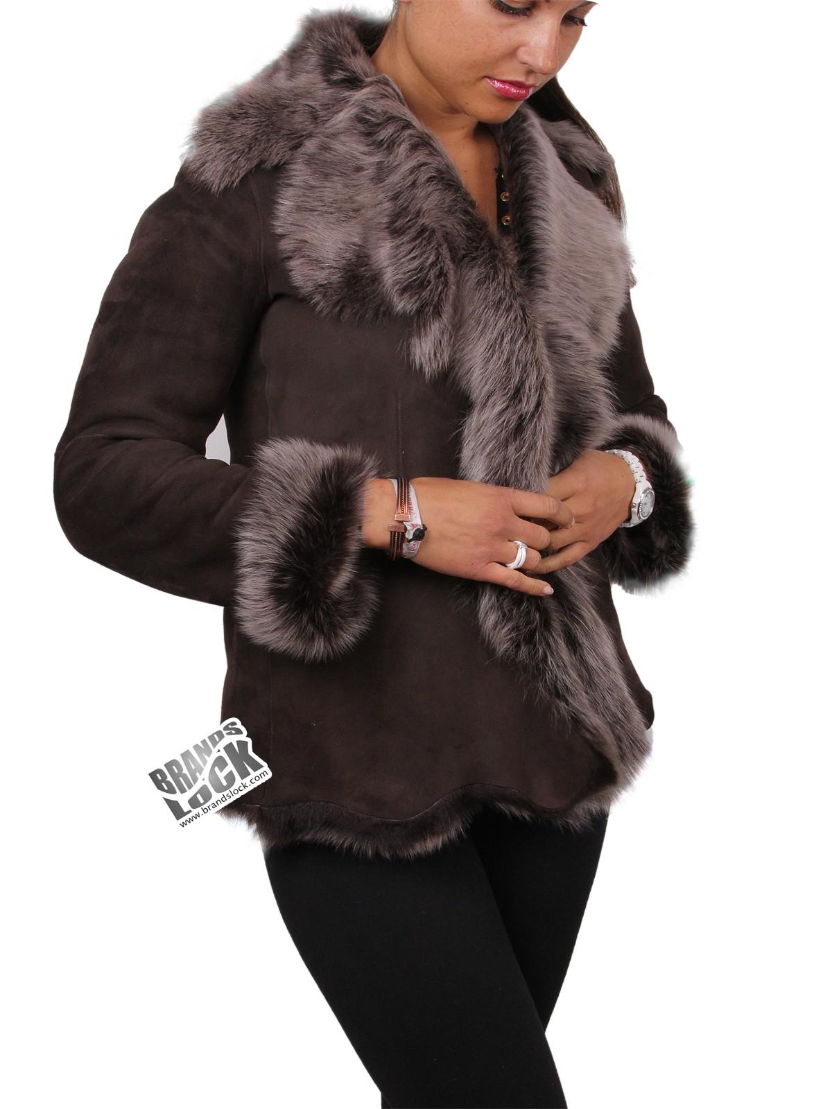 2505e84eb6b Women Brown-Silver Toscana Sheepskin Leather Fur Gilet