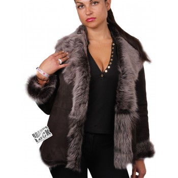 Women Brown-Silver Toscana Sheepskin Leather Fur Gilet- (Expected Delivery: 2 weeks)