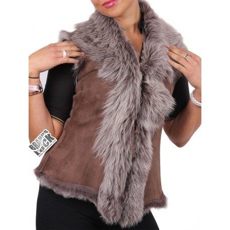 Ladies Dark-Taupe Toscana Sheepskin Leather Fur Gilet