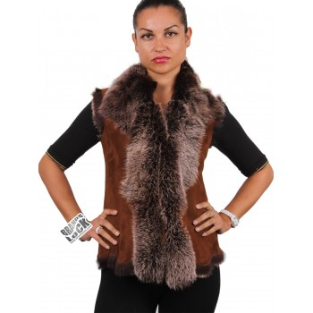 Women Whisky Toscana Sheepskin Leather Fur Gilet