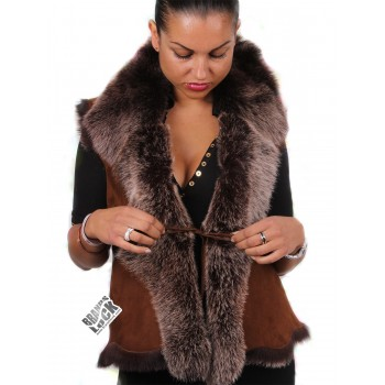 Women Whisky Toscana Sheepskin Leather Fur Gilet- (Expected Delivery: 2 weeks)