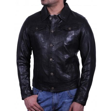 Men's Black Leather Jacket - Aaron