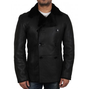Men's black shearling sheepskin double breasted pea coat - Rambo