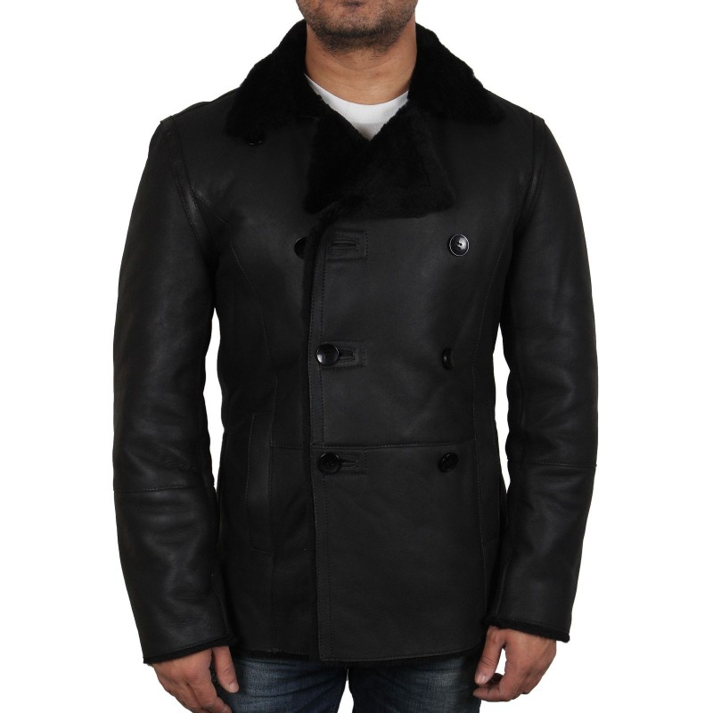 Men S Black Shearling Sheepskin Jacket Rambo