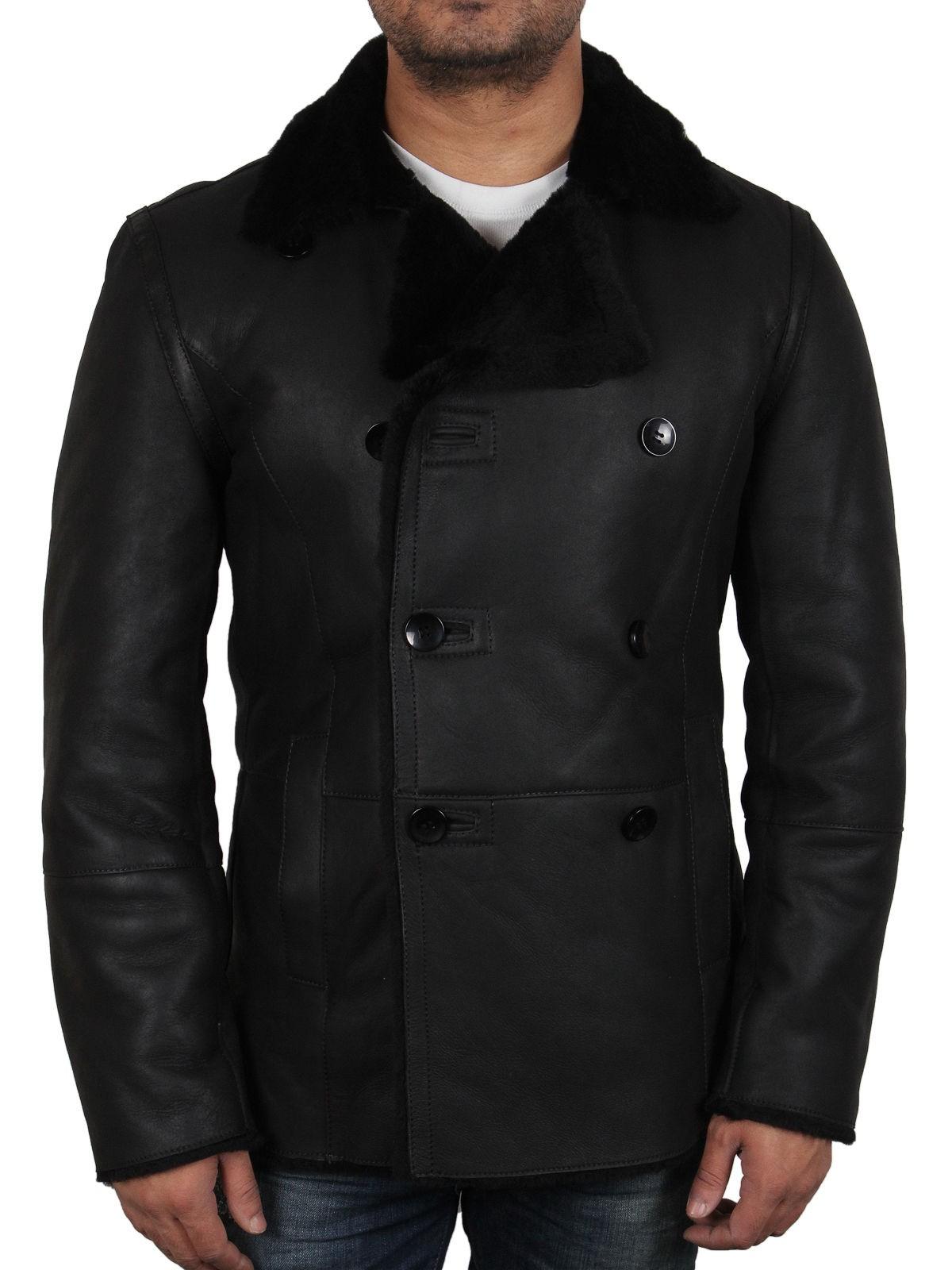 2cc2a7c0452 Men s Black shearling sheepskin jacket - Rambo
