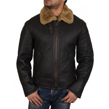 Men's Real Shearling Sheepskin Leather Flying Jacket Aviator Ginger Brown BNWT