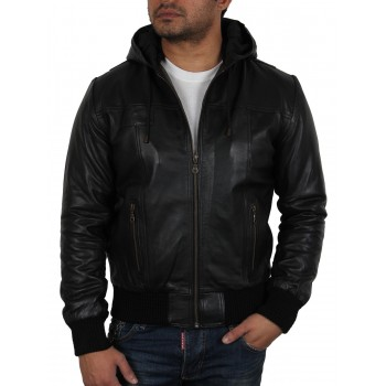 Men's Burgundy Leather Hooded Jacket - Troy