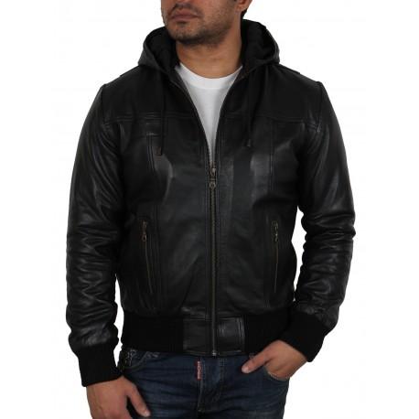 Men's Burgundy Leather Hooded Jacket - Troy