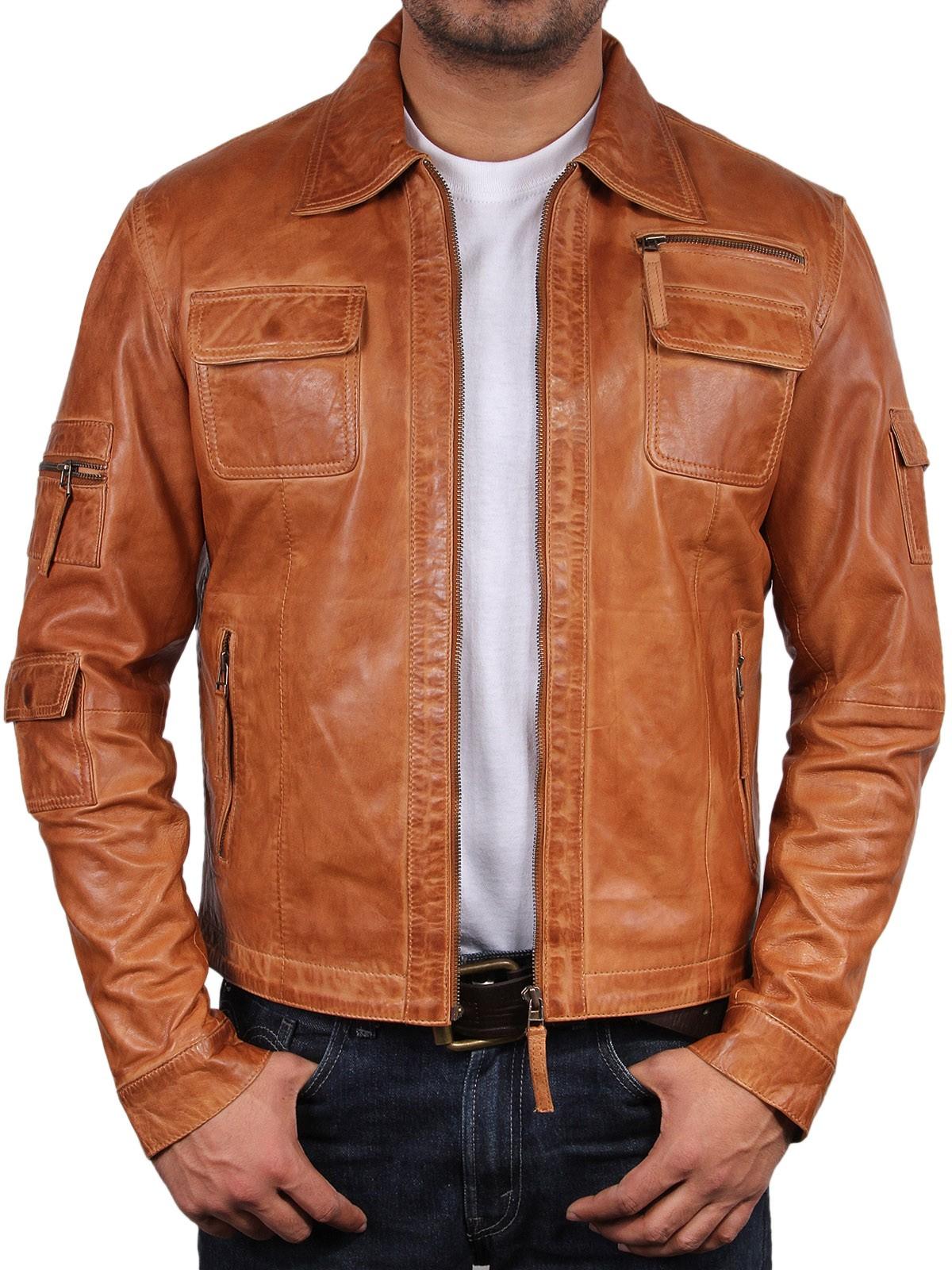 cognac leather jacket mens