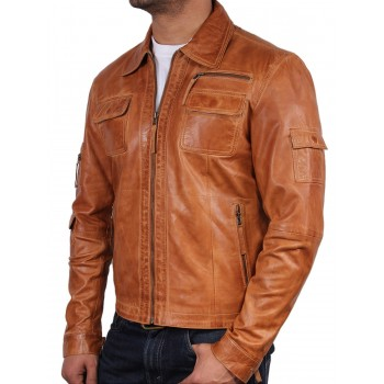 Men's Tan Leather Jacket - Hazard