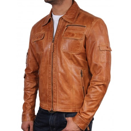 Men's Tan Leather Jacket - Hazard