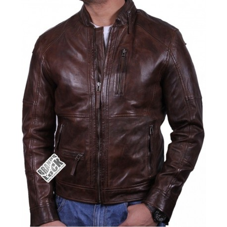 Men's Brown Leather Biker Jacket - Calvin