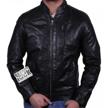 Men's Black Leather Biker Jacket - Calvin
