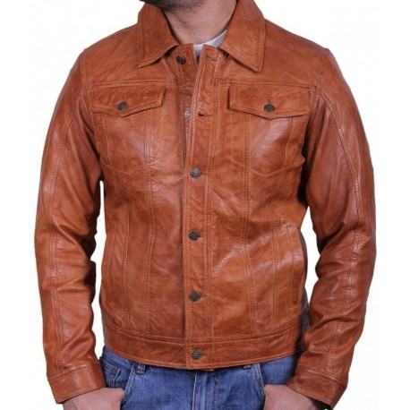 Men's Tan Leather Jacket - Aaron