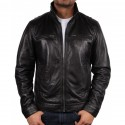 Men's Black Leather Jacket - Chicago