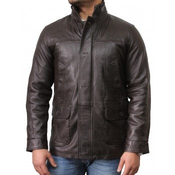 Men's Brown Leather Biker Jacket - Mathew