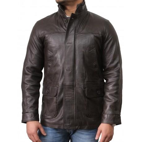 Men's Brown Leather Biker Jacket - Mathew