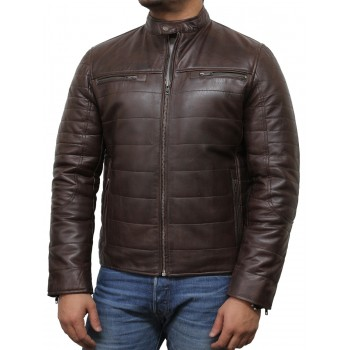 Mens Brown Leather Biker Jacket - Marsh