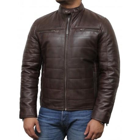 Mens Black Leather Biker Jacket - Marsh