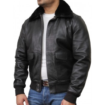 Mens Black Biker Jacket-Albert