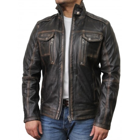 Mens Black Biker Leather Jacket-Allan