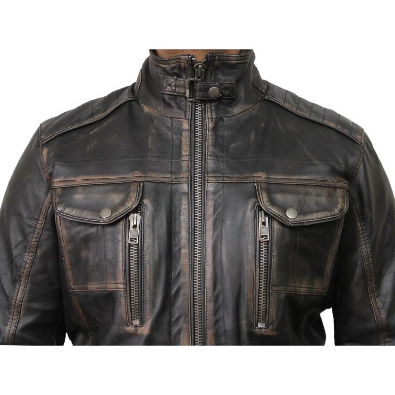 92b96d4f4 Mens Black Biker Leather Jacket-Allan