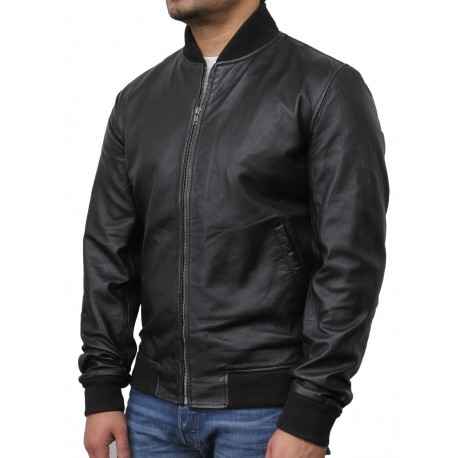 Mens Black Leather Jacket - Bret