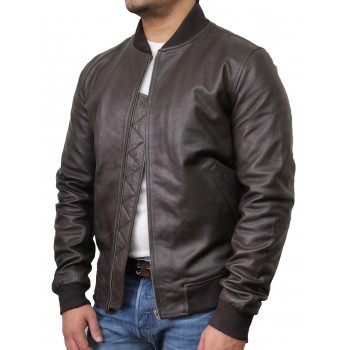 Mens Brown Leather Jacket - Bret