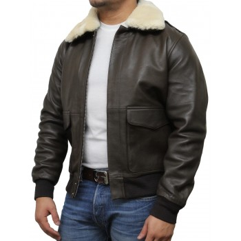 Men's Brown Biker Jacket With White Fur-Albert