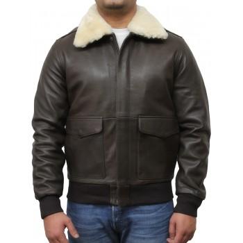 Men's Brown Biker Jacket With White Fur-Albert