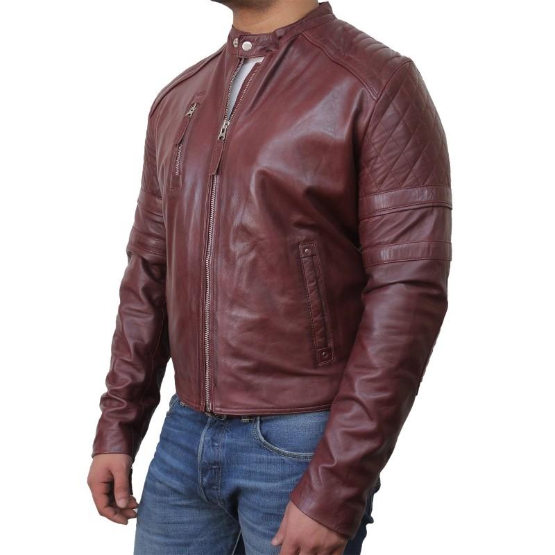 Men's Leather Biker Jacket Burgundy