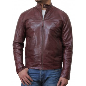 Mens Burgundy Leather Biker Jacket - Colin