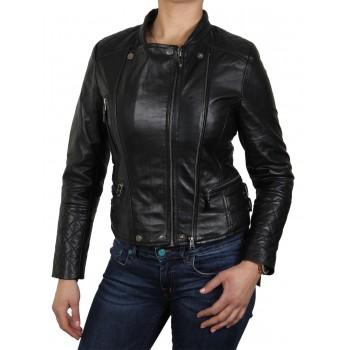 Womens Black Biker Jacket-Agnes