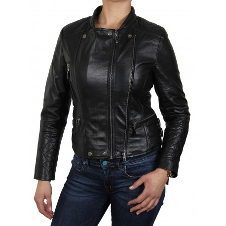 Womens Black Biker Jacket-Agnes