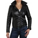 Womens Black Detachable Hooded Leather Biker Jacket-Alana