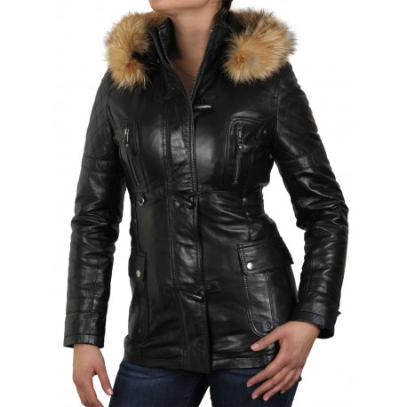 Womens Black Biker leather Jacket- Alex