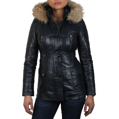 Womens Black Biker Leather Jacket-Brenda