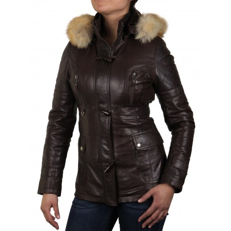 Womens Brown Biker Leather Jacket - Brenda