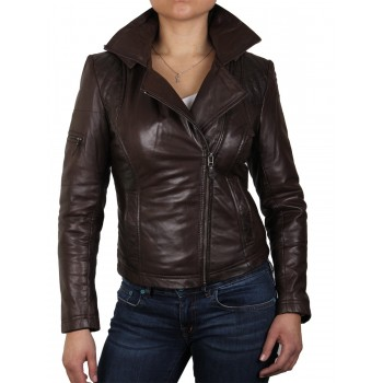 Womens  Brown Biker Leather Jacket - Carol