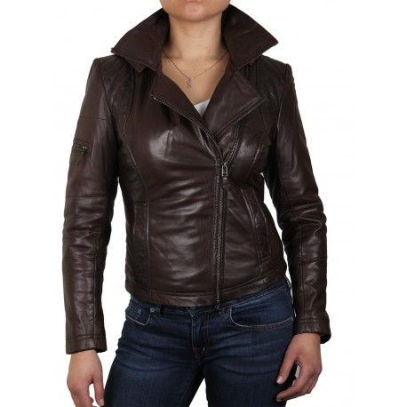 Womens  Black Biker Leather Jacket - Carol