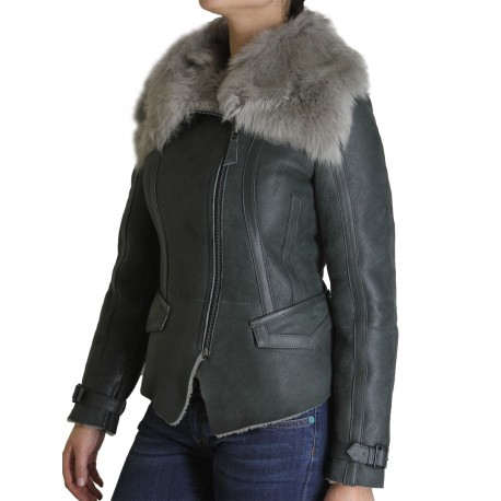 Womens Sheepskin Leather Jacket - Berry